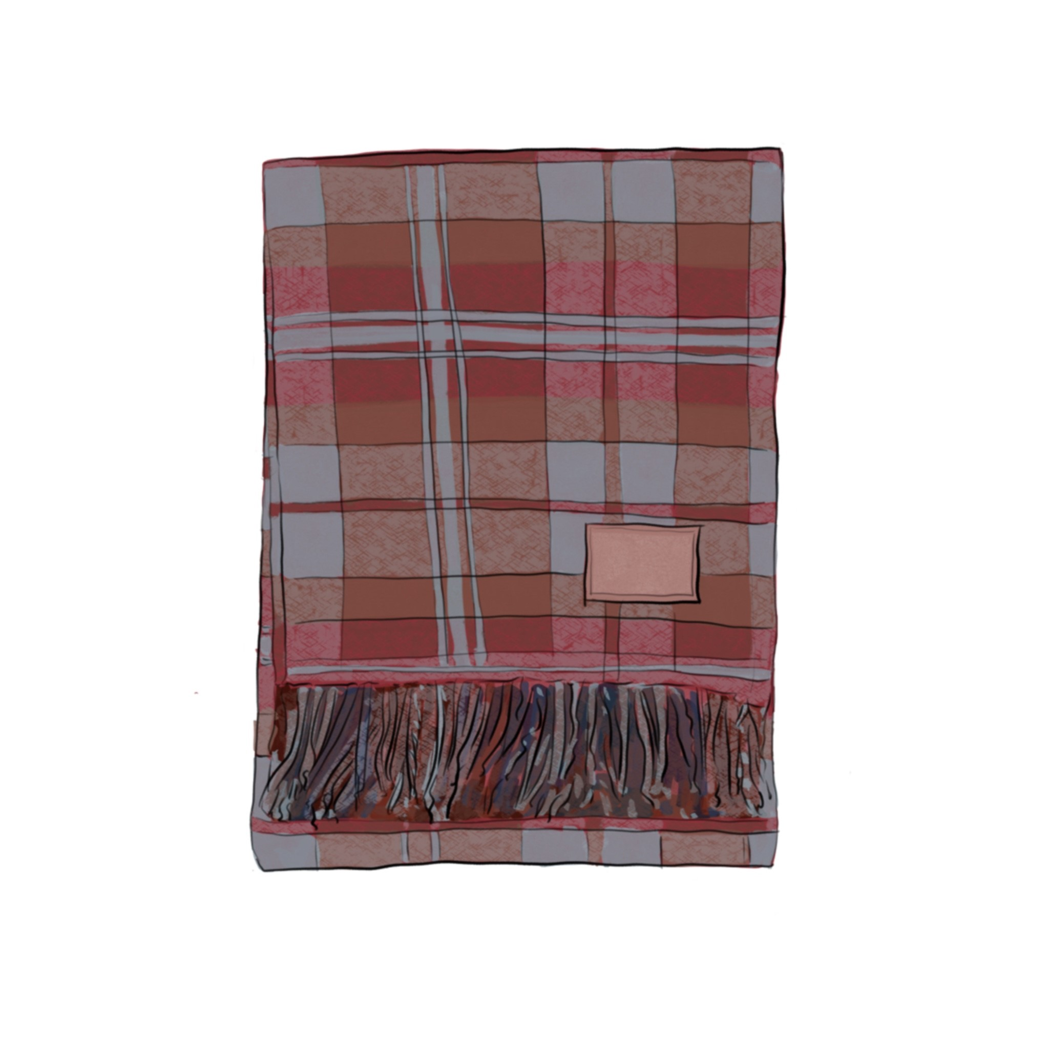 Illustration of folded red laid blanket with fringed edge