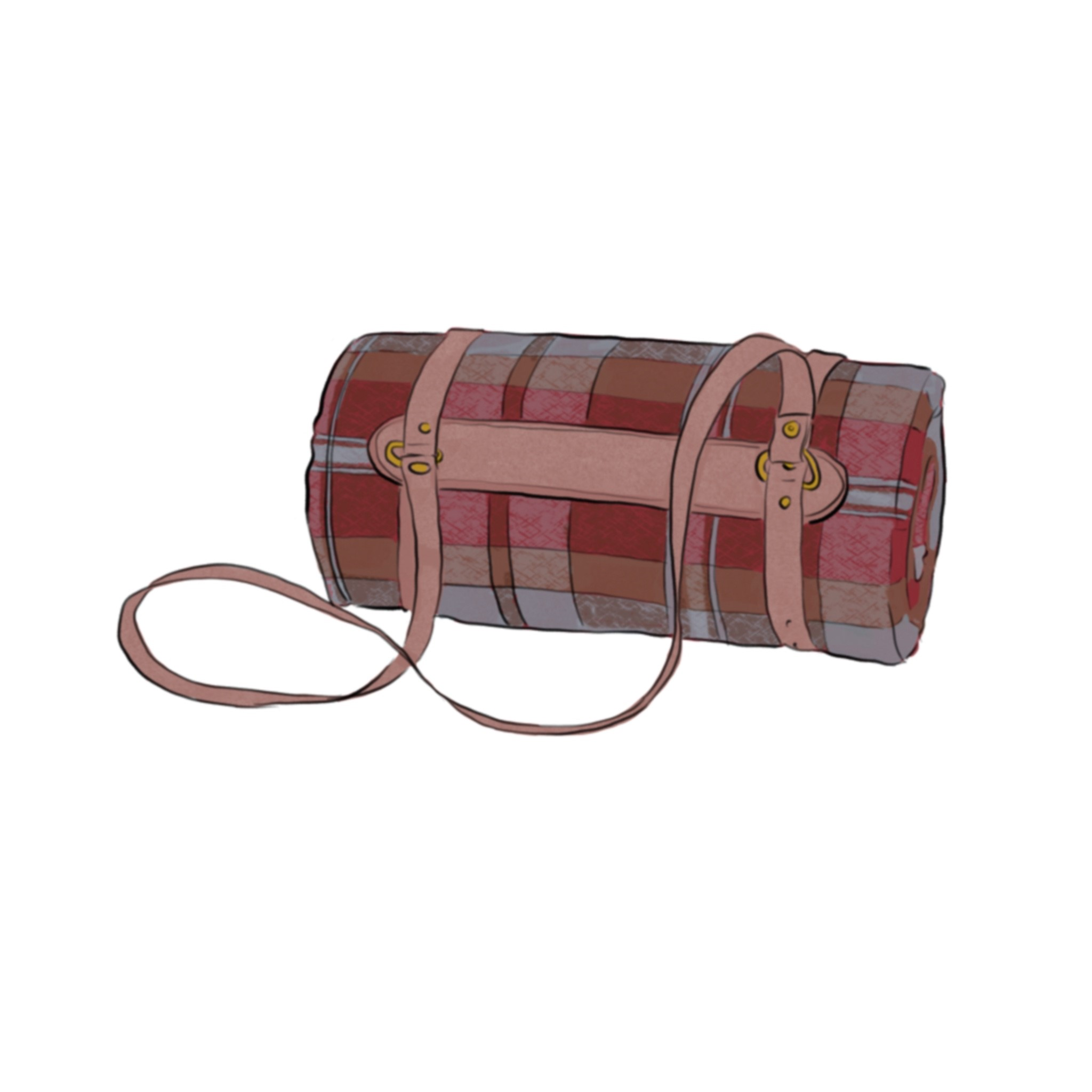 Illustration of plaid blanket rolled up with a leather carrying strap around it.
