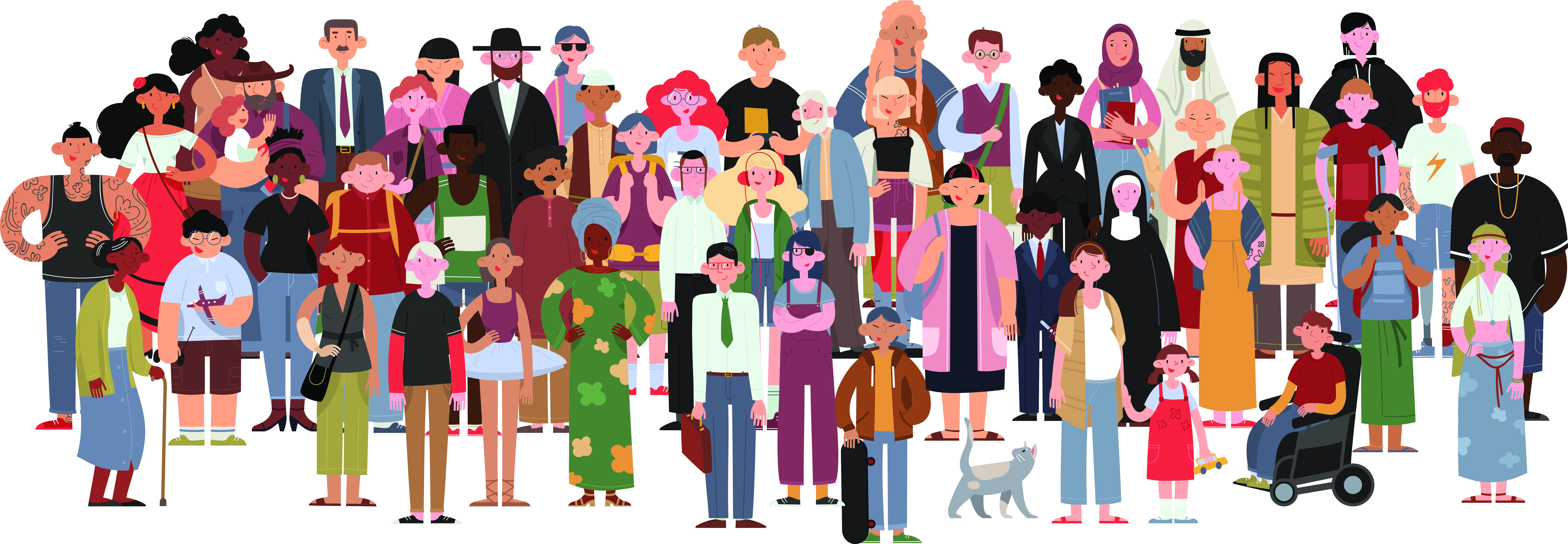 Illustration of a diverse crowd of people.