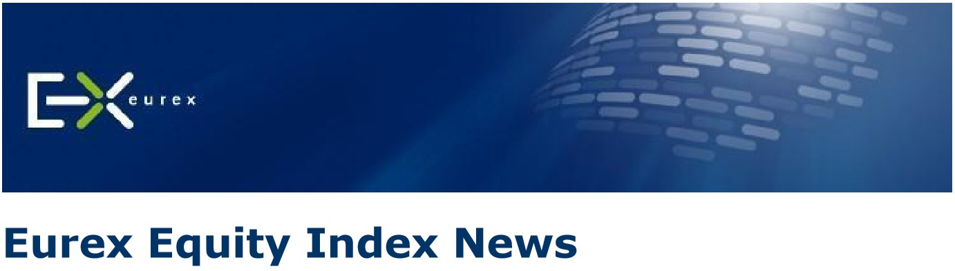 "Blue background with Eurex logo and headline, ""Eurex Equity Index News"""