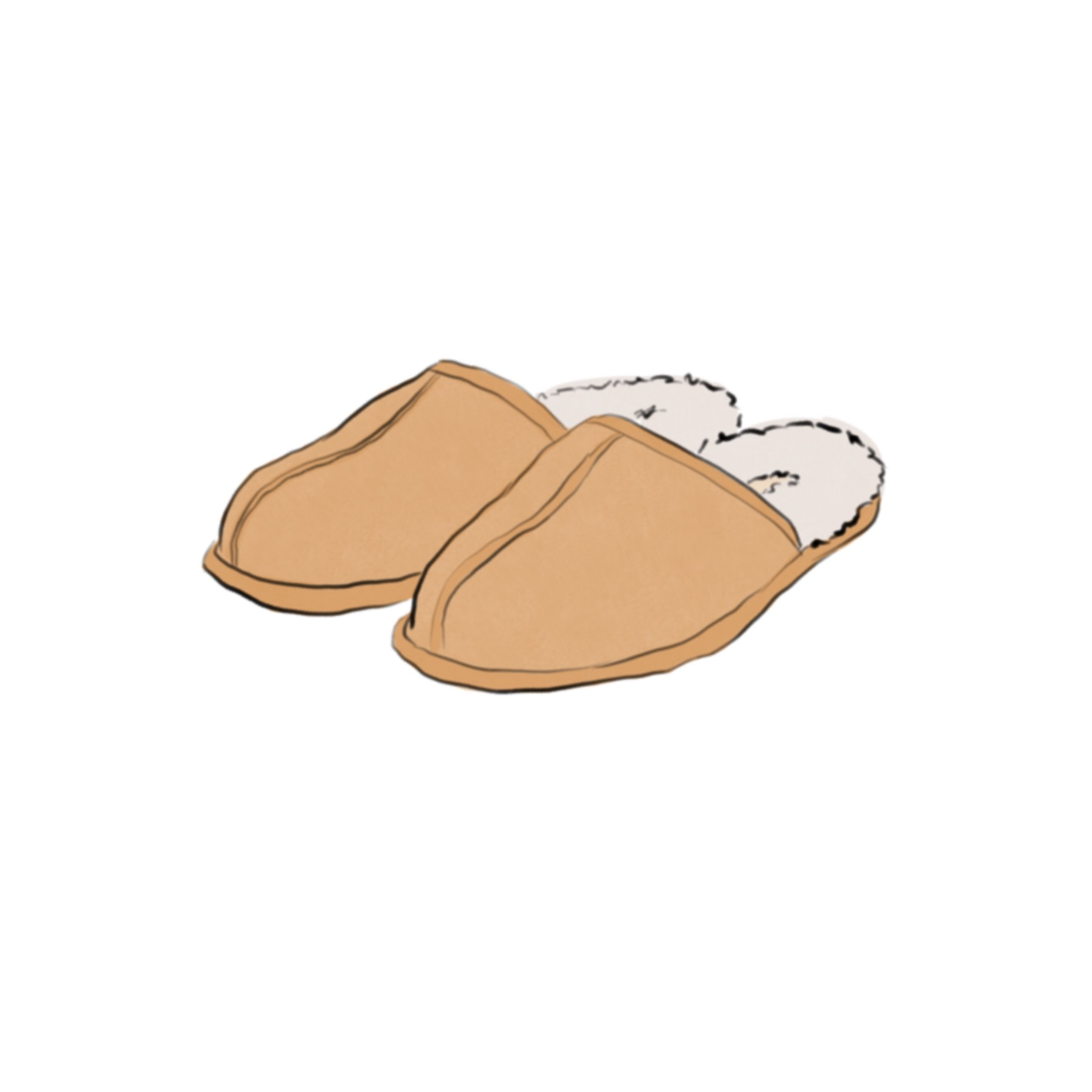Illustration of a pair of tan slippers with fluffy white lining and open heels.