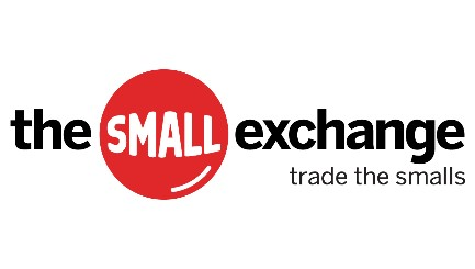 "The Small Exchange logo with tagline ""trade the smalls."""