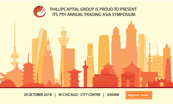 Illustration of city skyline in red, yellow, and orange advertising Trading Asia Symposium.